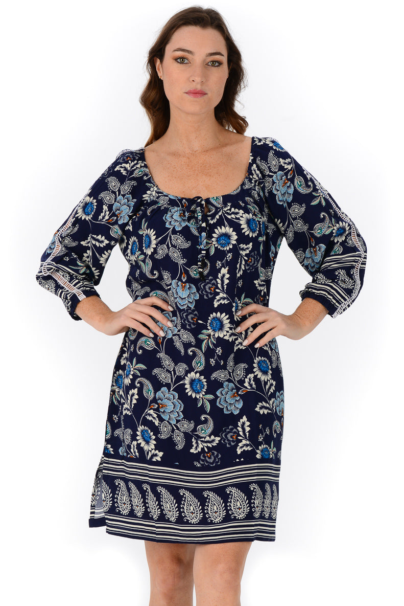 Peasant Dress / Navy Paisley