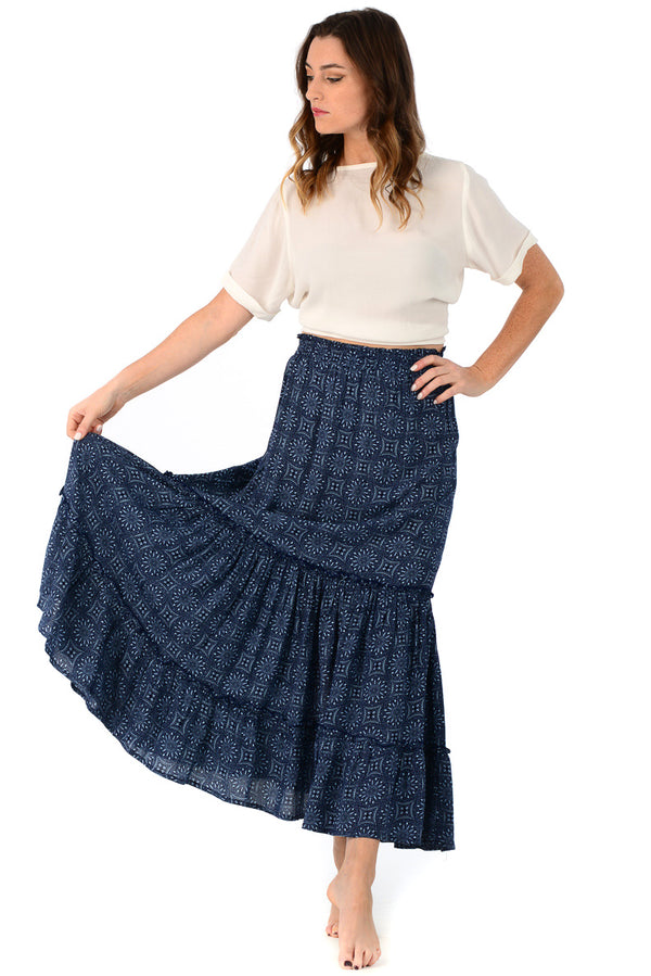 Eliza Skirt / Deep Indigo Medallion