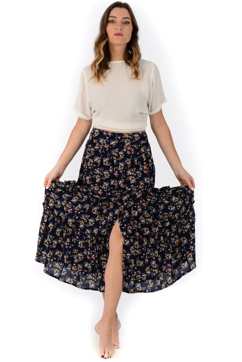 Selena Skirt / Navy Wildflower