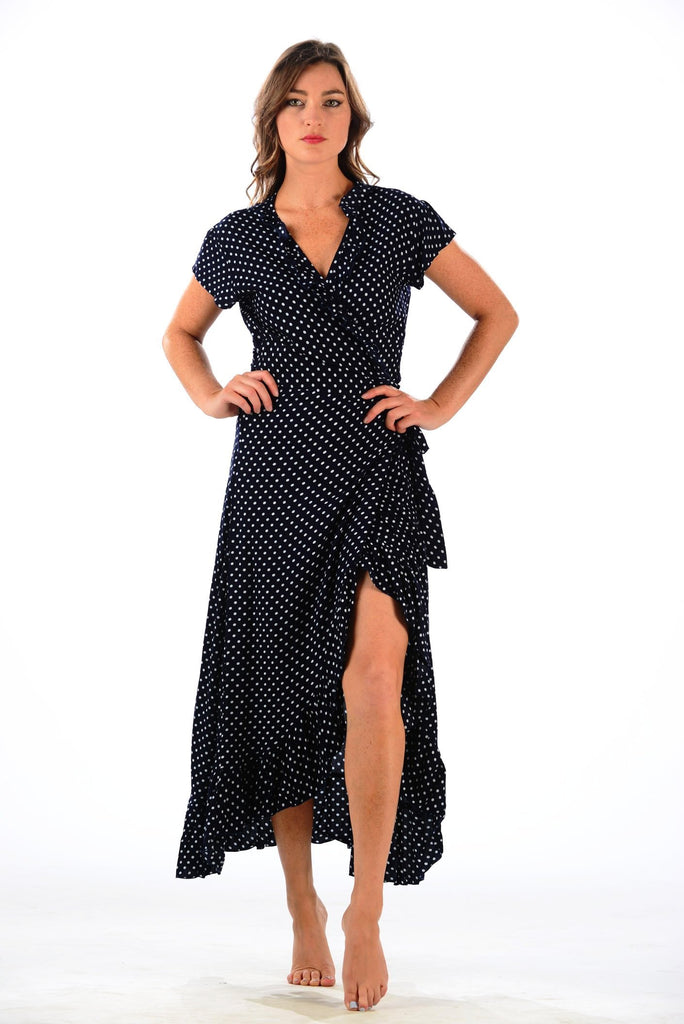 Voyager Dress / Dark Navy & White Polka Dot