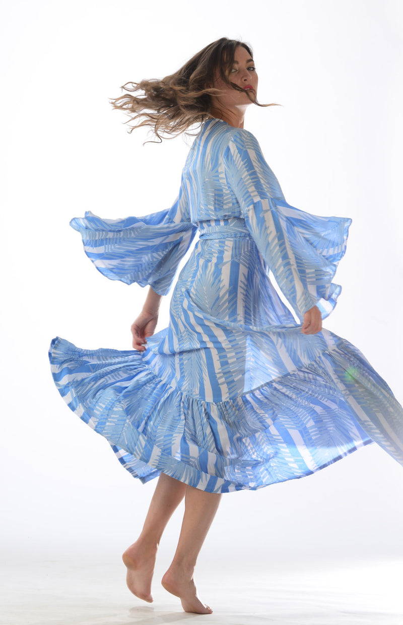 Denise Dress / Periwinkle Palm Stripe