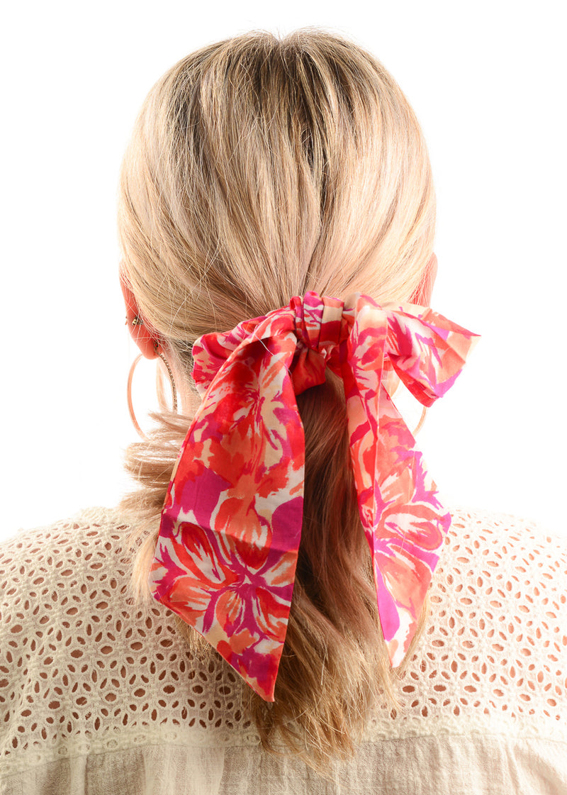 Hair Scrunchie / Fuchsia Floral