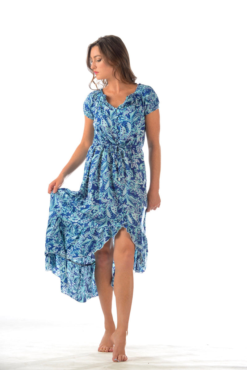 Prita Dress / Navy-Mint