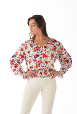 Milano Top / Red Floral
