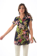 Paradise Wrap Tunic / Navy Tropical
