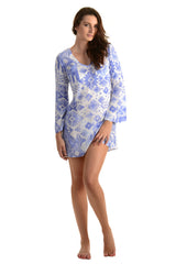 Meggy Dress / Periwinkle Ikat - Walker&Wade  - 3