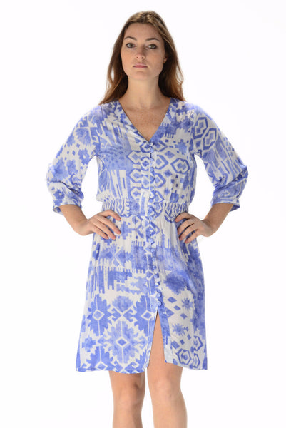 Kelsey Dress Short / Periwinkle Ikat