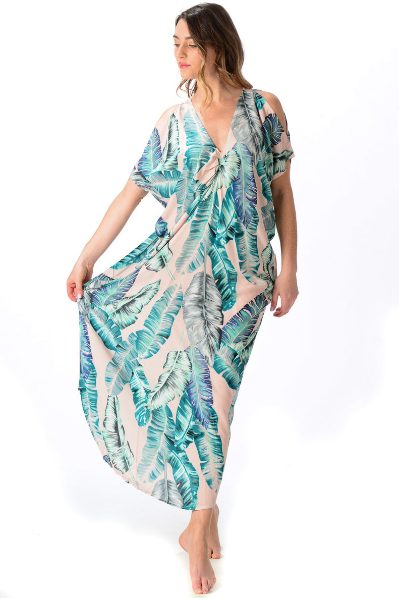 Palm Beach Kaftan / Pink Banana Leaf