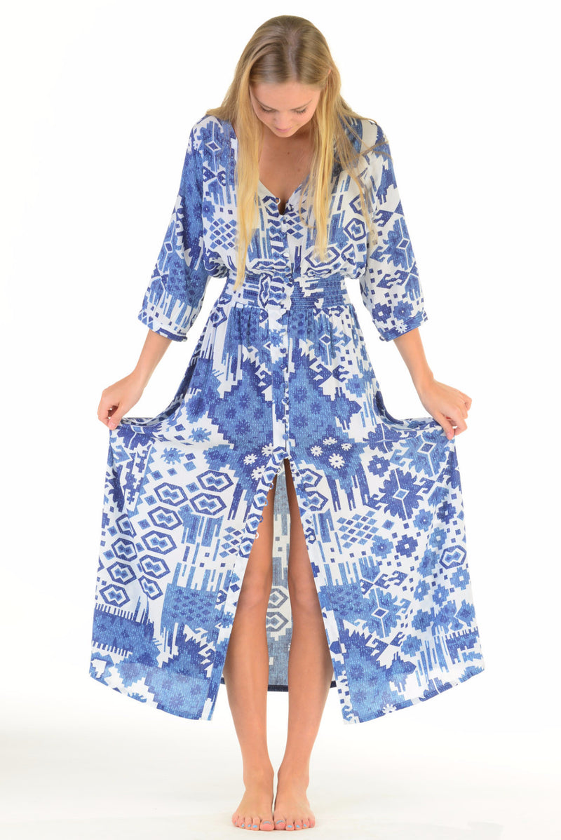 Kelsey Dress / Indigo Ikat