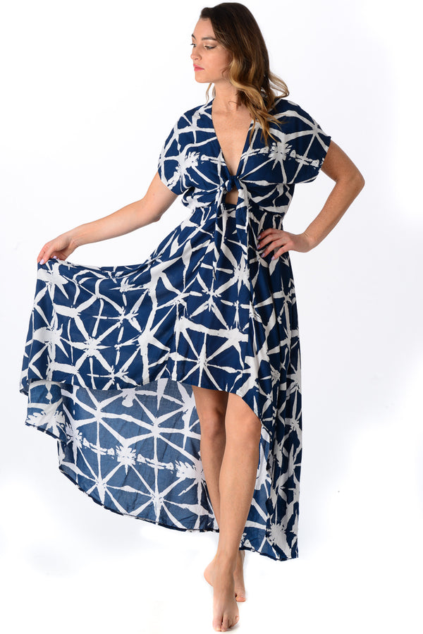 Delray Dress / Navy Brushstroke