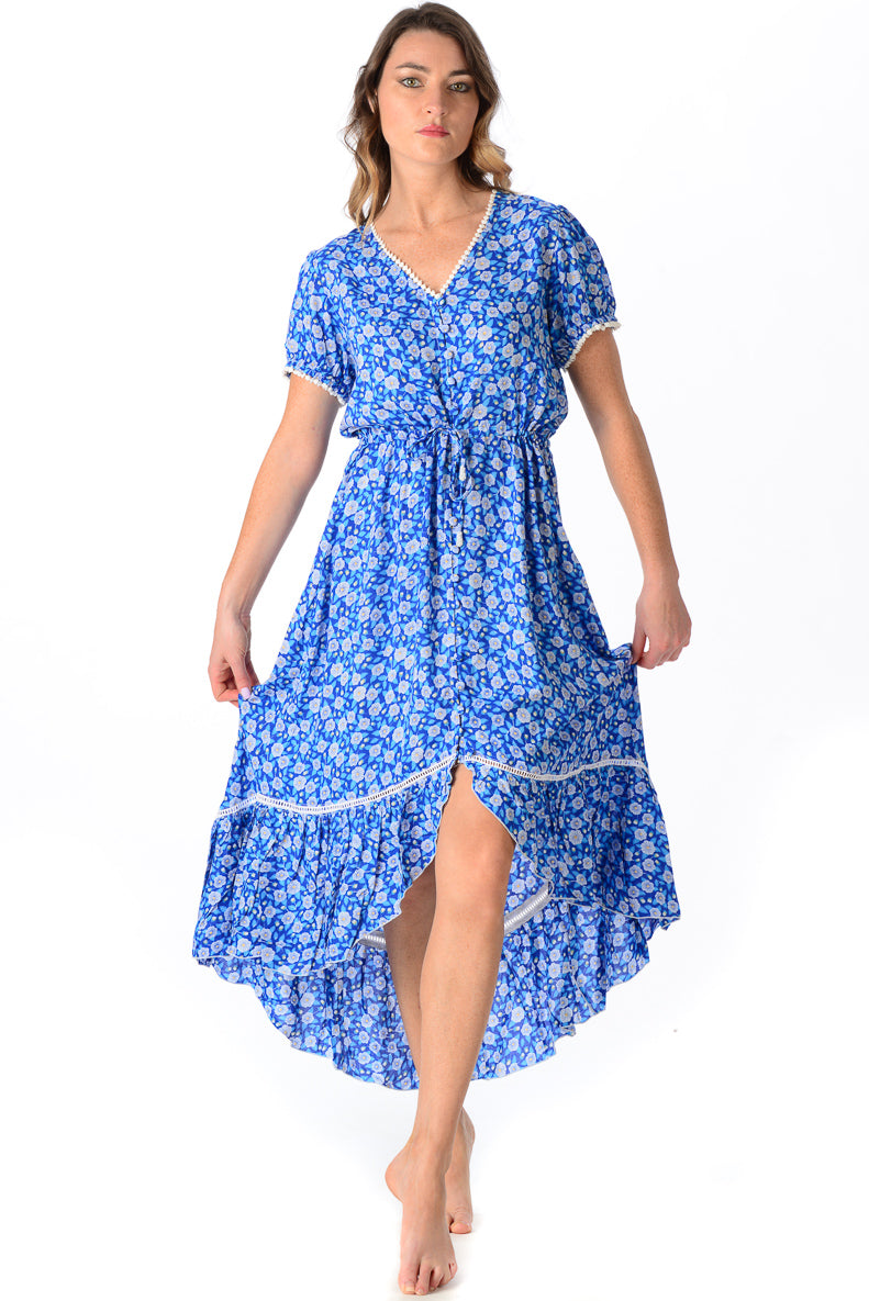 Tia Dress / Cobalt Floral