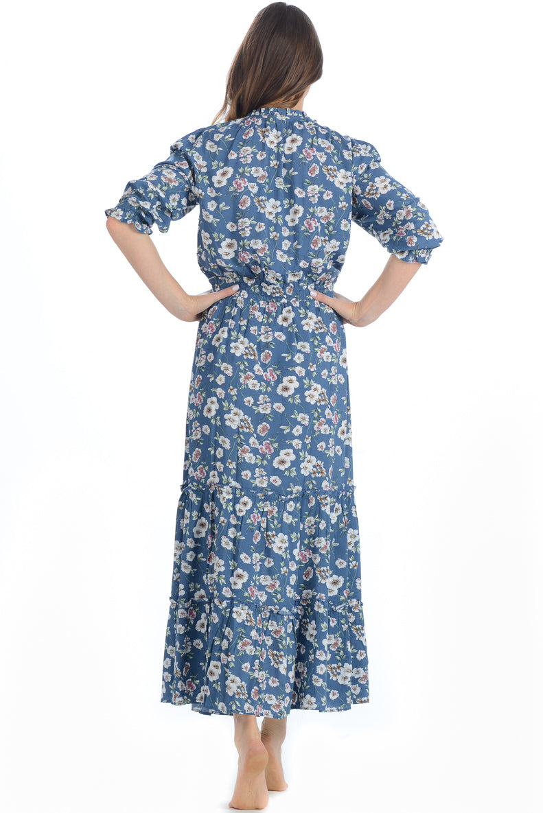 Eliza Dress / Slate Blue Floral