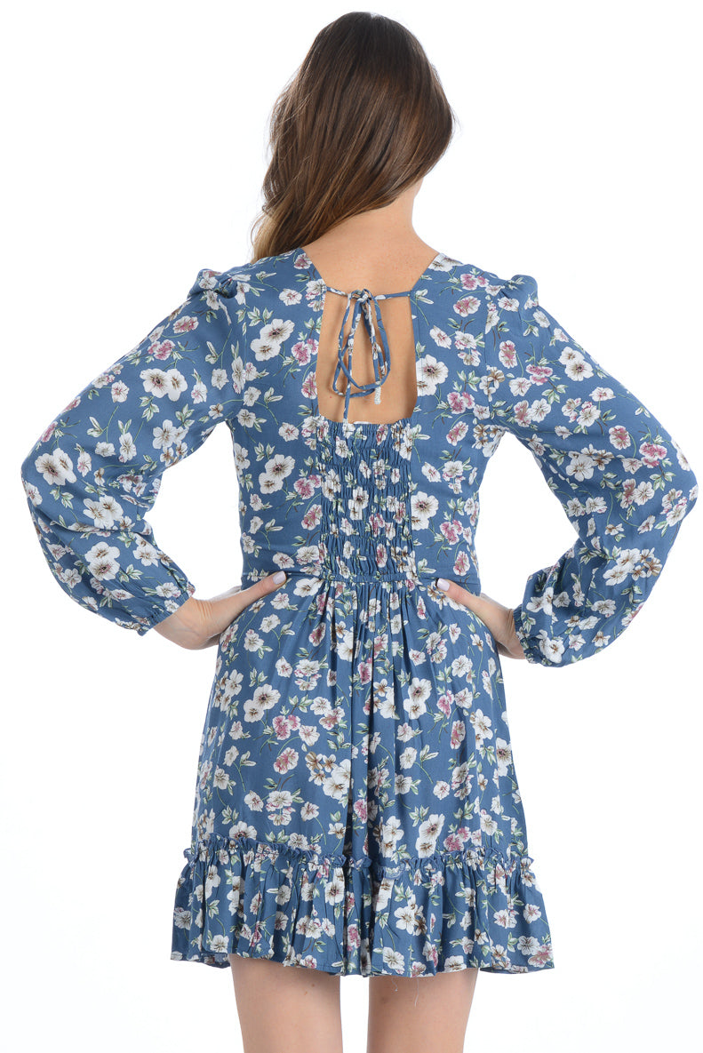Blair Dress / Slate Blue Floral