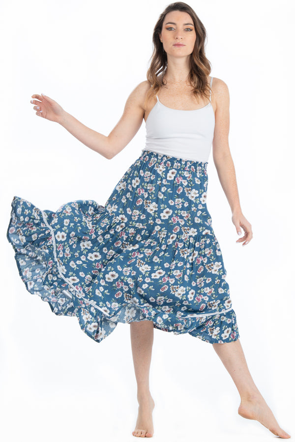 Safari Skirt / Slate Blue Floral