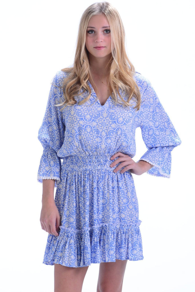 Mia Dress / Periwinkle Medallion