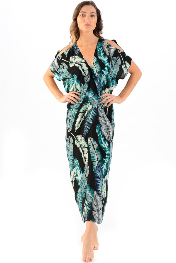 Palm Beach Kaftan / Black Banana Leaf