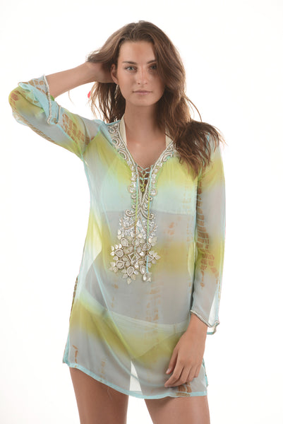 Indian Silk Tunic / Lime Aqua Tie Dye