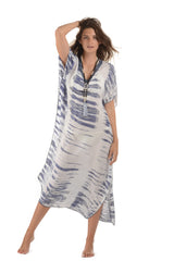 Goddess Kaftan / Indigo Tie Dye (Long) - Walker&Wade  - 1