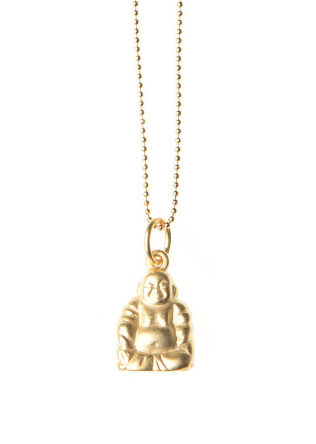 Buddha Necklace / Matte Gold Plated