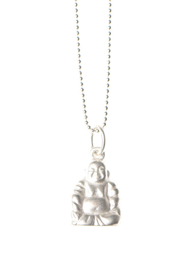 Buddha Necklace / Matte Silver Plated