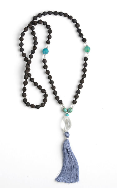 Turquoise with Glass Pendant / Black Malas