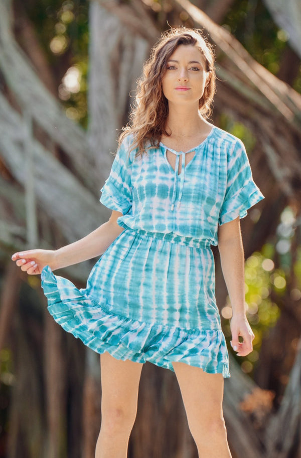 Courtney Dress / Aqua Tie-Dye