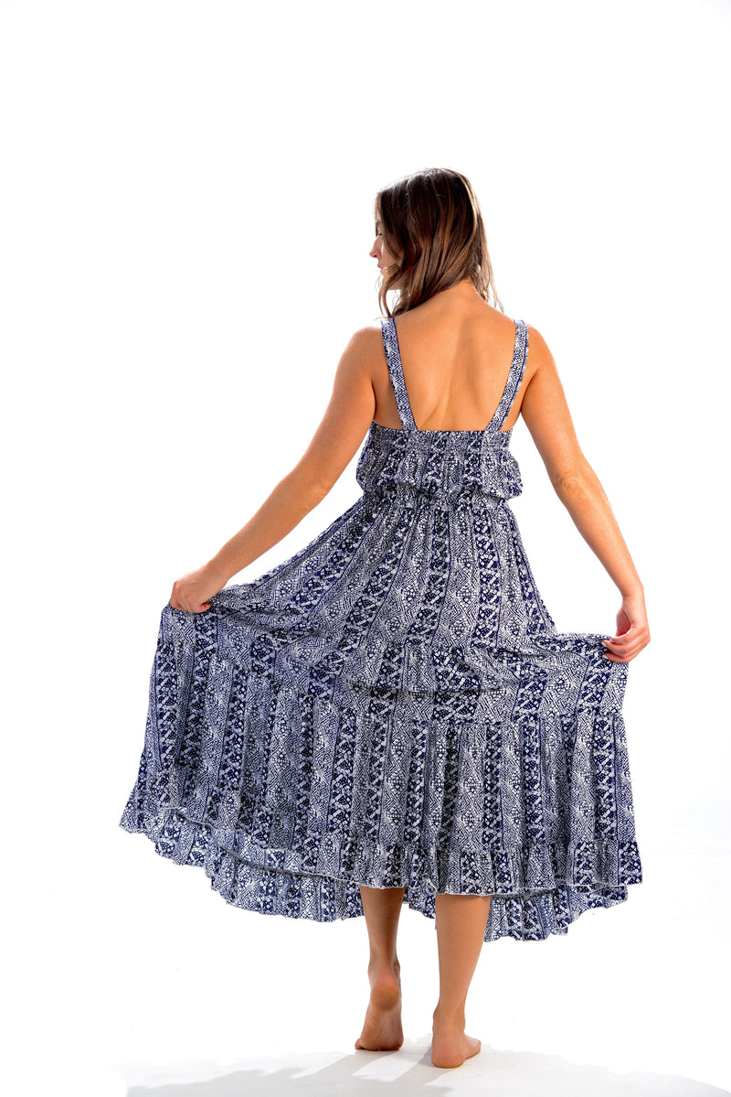 Brooke Dress / Indigo Aztec
