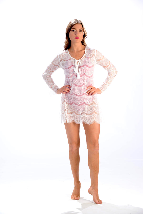 Bali Beach Coverup / White Lace