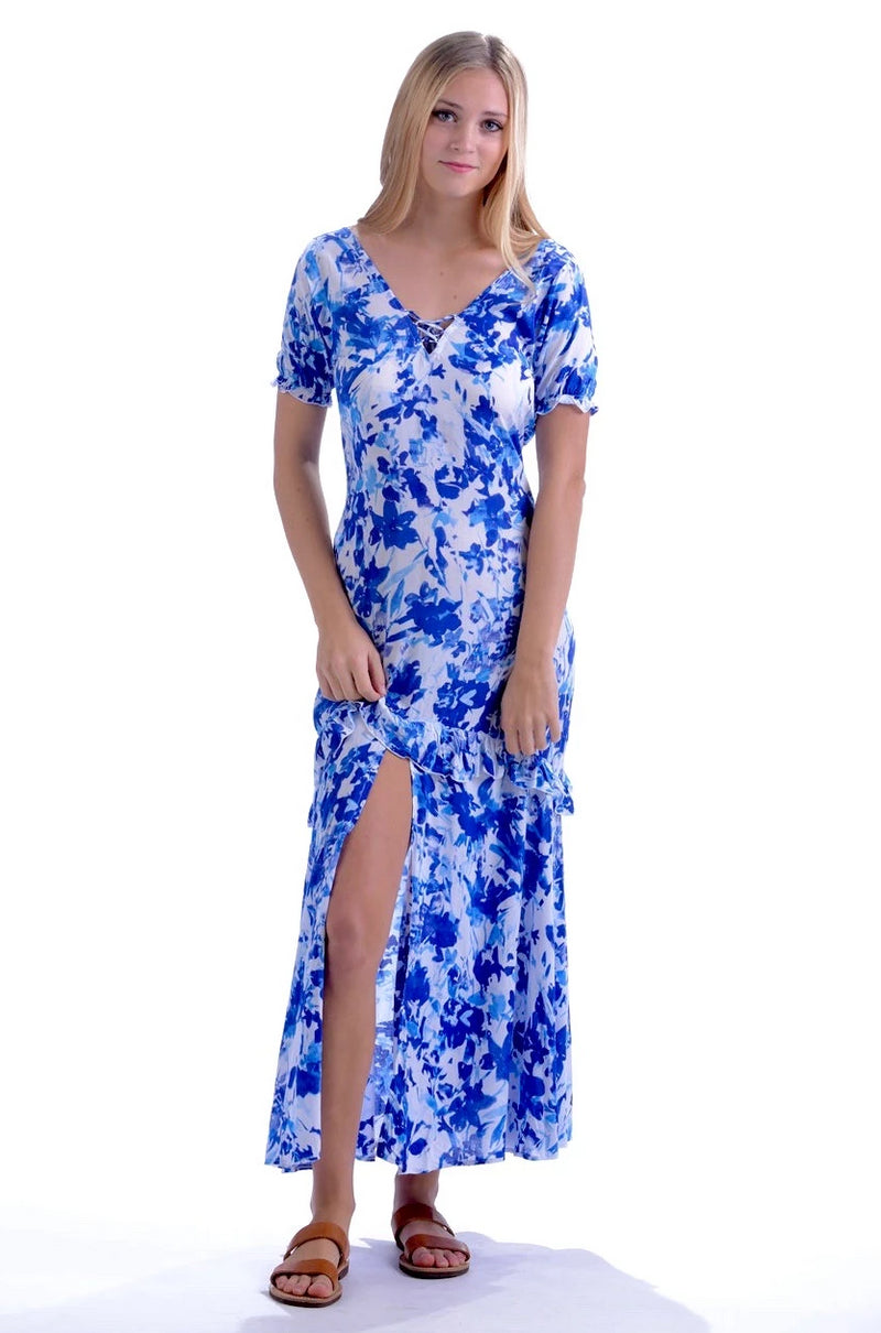 Laurette Dress / Cobalt Watercolor