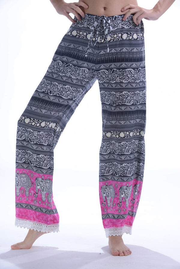 Lace Trim Lounge Pants / Hot Pink Elephant