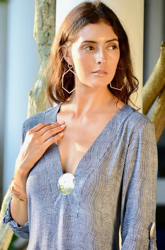 Seychelles Dress-Kaftan Abalone Shell/ Deep Indigo