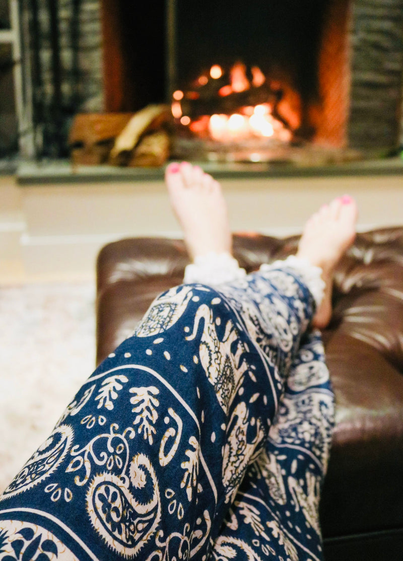 Lounge Pants / Navy&Tan Elephant
