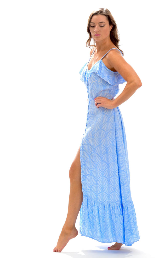 Carly Dress / Periwinkle Palm