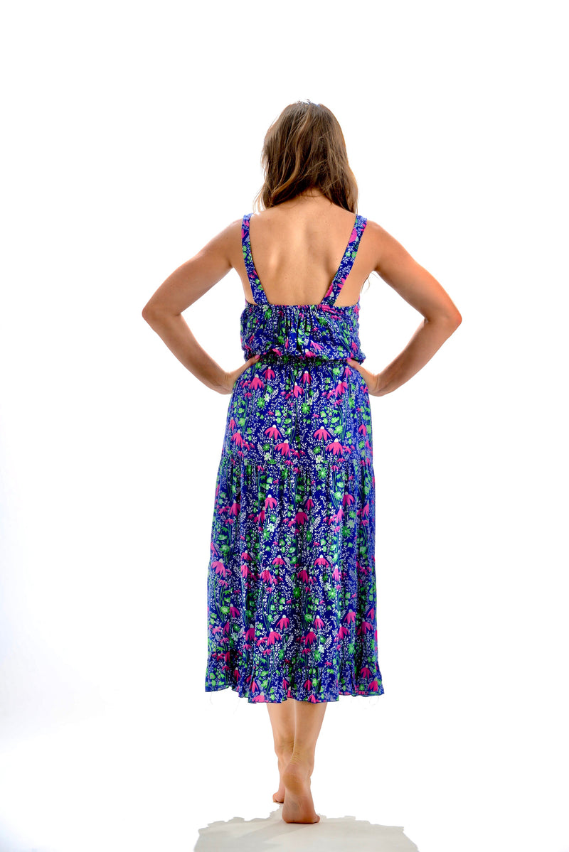 Brooke Dress / Navy and Pink Floral