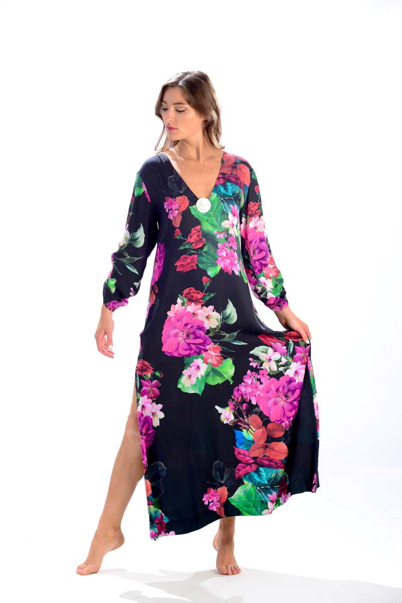 Seychelles Dress-Kaftan / Black Tropical