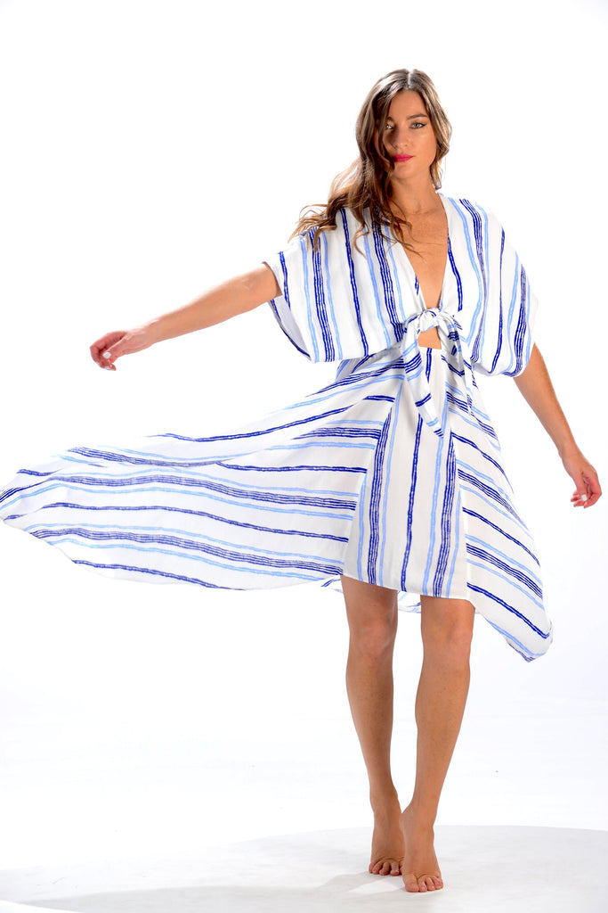 Delray Dress / Periwinkle/Cobalt Stripe