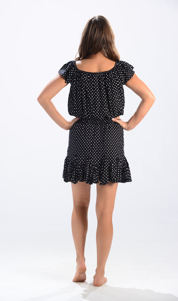 Salsa Skirt / Dark Navy Polka-Dot
