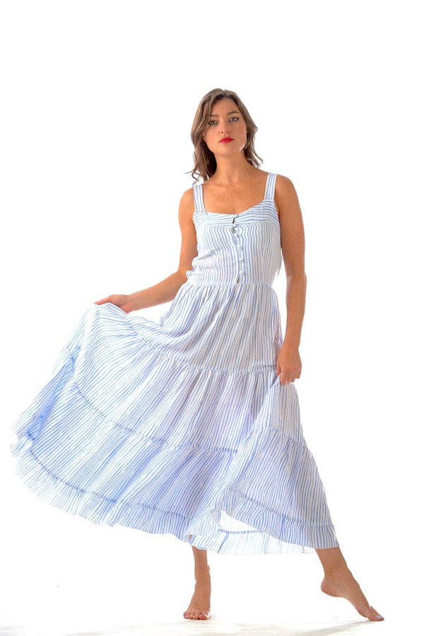 Brooke Dress / Periwinkle Stripe
