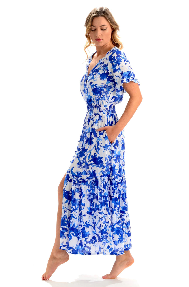 Christina Dress / Cobalt Watercolor