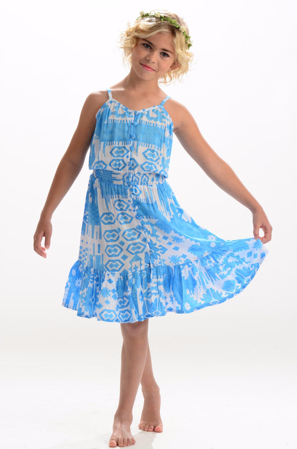 Lala Dress / Turquoise Ikat