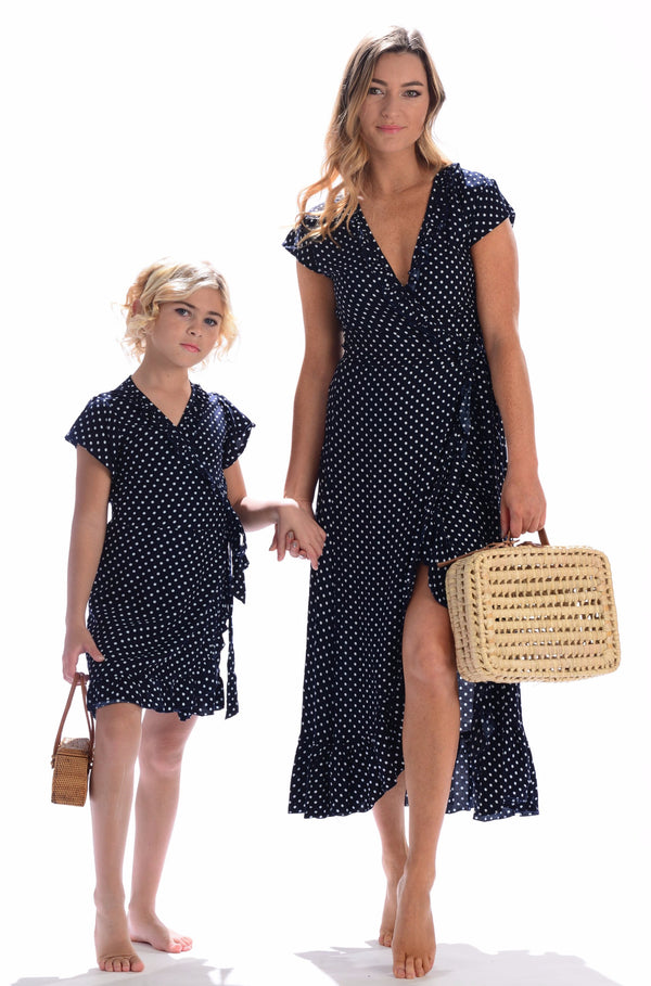 Girls Voyager Dress / Midnight Polka-Dot