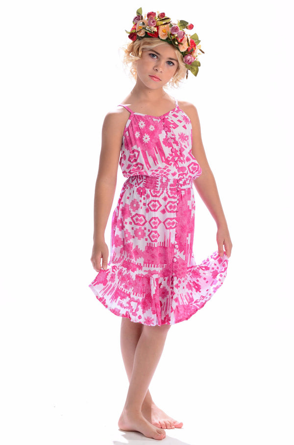 Lala Dress / Hot Pink Ikat