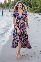 La Playa Skirt / Black & Pink Floral