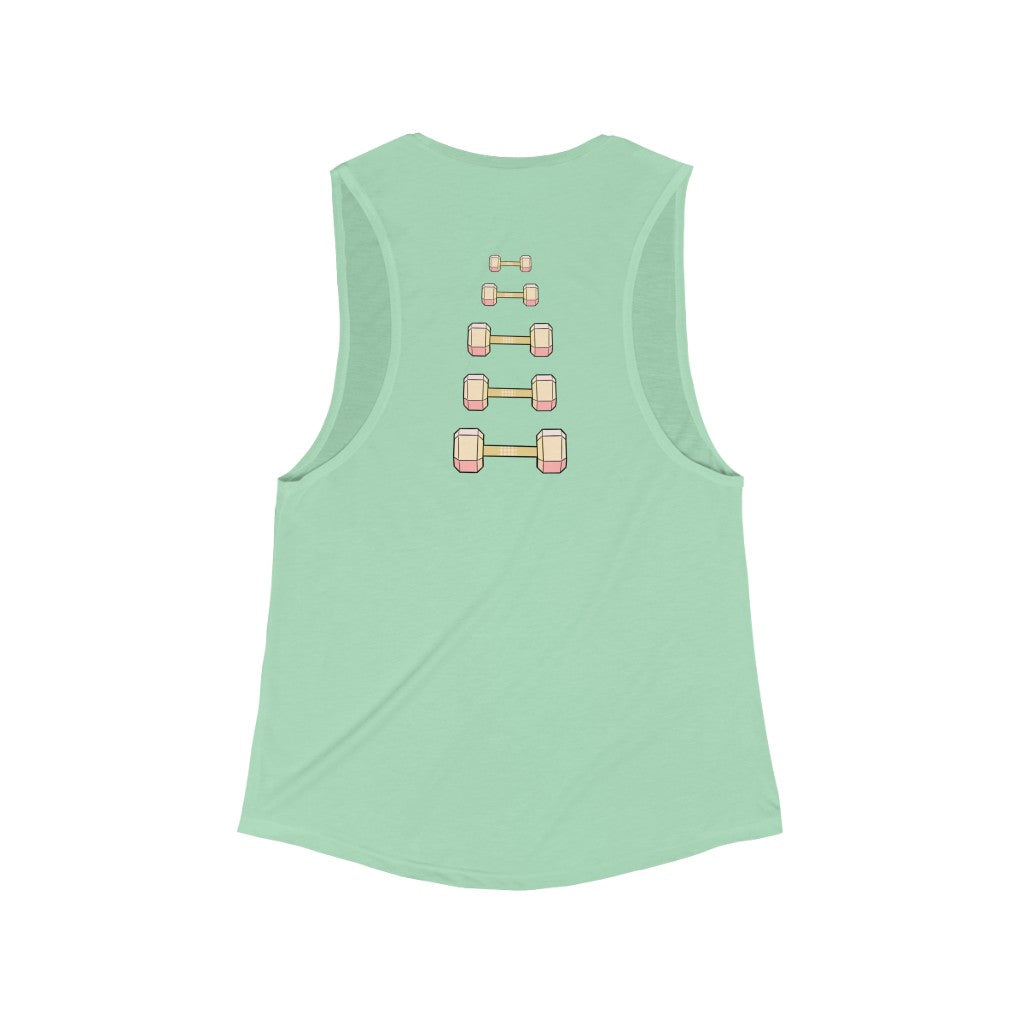 Women's Flowy Scoop Muscle Tank: dumbbell progression