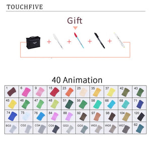 TouchFIVE 30/40/60/80/168 Color Markers Set Manga Drawing Markers Pen Alcohol Based Sketch Felt-Tip Twin Brush Pen Art Supplies