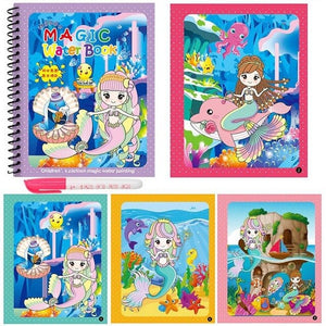 Montessori Magic Water Drawing Book Coloring Book Doodle Magic Pen Painting Drawing Board For Kids Toys Birthday Gift