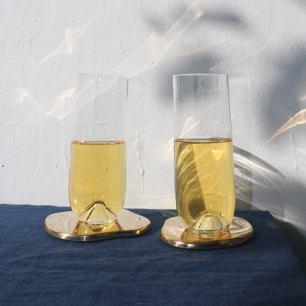 Organic Hand Blown Champagne Glasses - Pair