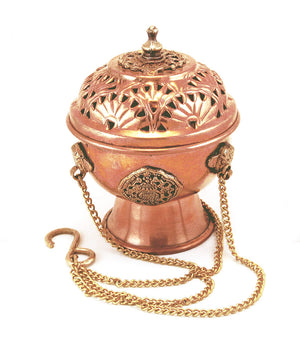 Tibetan Hanging Incense Burner - Copper & Brass