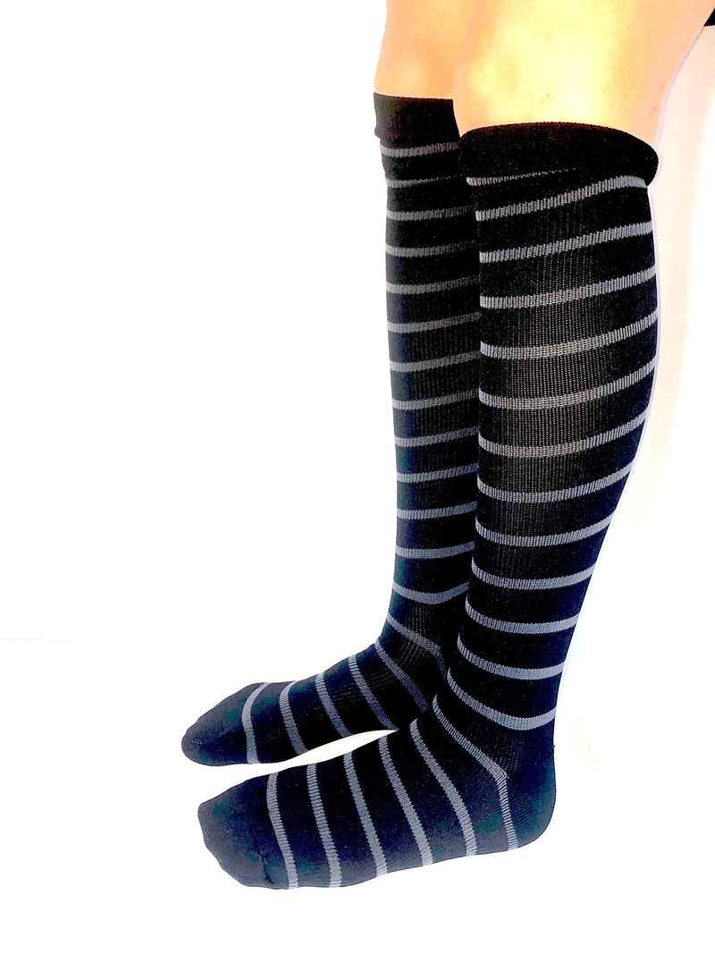 Healthy Sock Shop Compression Socks Compression Socks - Black & Grey Thin Stripe