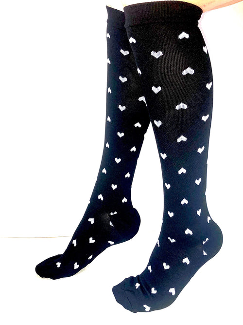 Healthy Sock Shop Compression Socks Compression Socks - Black & White Hearts